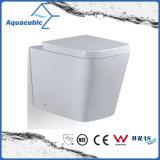 Toilette duelle d'une seule pièce de lavage à grande eau fixé au mur dans le blanc (ACT5251B)