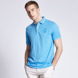 남자를 위한 주문을 받아서 만들어진 디자인 안락 간결 소매 평야 적당 면 골프 폴로 셔츠