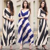 2 цвета Striped вскользь платье женщин с V-Backless