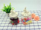 Freies Beispielglasglas mit keramische Kappen-/Glasbehälter-/Süßigkeit-Speicher/Nahrungsmittelspeicher