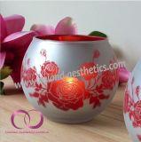 赤い花が付いている卸し売り簡単な現代電気版のガラス蝋燭ホールダーの蝋燭のコップ