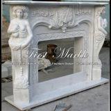Camino bianco della scultura di Carrara per mobilia domestica Mfp-615