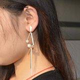 Boucle d'oreille géométrique de mode de perle de Matt d'Or-Couleur de glands en plastique d'imitation en métal