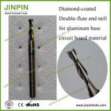 Molino de extremo cubierto diamante 2-Flute para Pcbmaterial movido hacia atrás aluminio