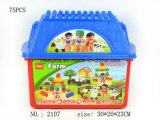 プラスチックバケツが付いている困惑のおもちゃの農家のブロック
