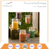 Botes de Mason de vidrio transparente con mango para lámpara de aceite Objetivo