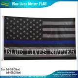A linha azul fina branca polícia do preto americano do poliéster embandeira (J-NF05F09328)