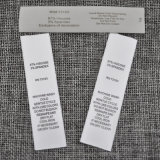 Etiqueta da impressão da fonte da fábrica, etiqueta da lavagem, etiqueta de instrução