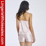 """Jogos """"sexy"""" do pijama do Short da roupa de noite das Dois-Partes da guarnição do laço do cetim das mulheres"""