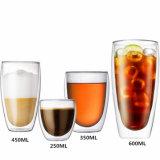 450ml二重壁のガラスハンドメイドのコーヒー・マグジュースのコップ