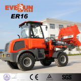 CE Certificate Euro3 Engine di Everun Brand 1.6 Ton Small Wheel Loader 4WD