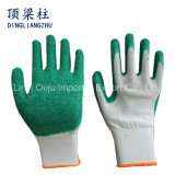 塗られるしわの乳液が付いている13Gポリエステルシェルの安全作業手袋
