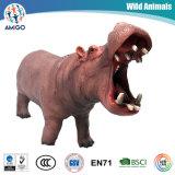 Brinquedos do hipopótamo do animal selvagem do PVC do plástico do OEM 3D da alta qualidade