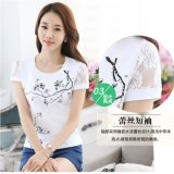 T-shirt mince d'impression de coton d'ajustement de fille avec la chemise de circuit de lacet