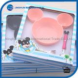 Jeu de dîner de vaisselle de cuvette d'enfants de Mickey de paille de blé