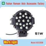 51W LED de la lámpara de trabajo ligera LED del trabajo redondo de la luz de conducción del camino