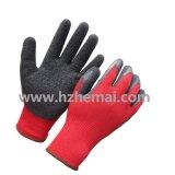 Красный латекс черноты полиэфира покрыл перчатки работы безопасности