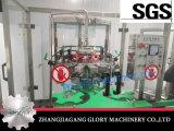 Bottiglia di vetro del vino rosso che risciacqua la linea di produzione di coperchiamento di riempimento