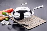 18/10 технологий Германии Wok Cookware нержавеющей стали китайских варя сковороду (SX-WO32-19)