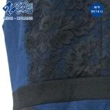 O laço Sleeveless azul da V-Garganta fêz malha o vestido do escritório das senhoras do Traseiro-Zipper
