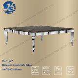 Tabella pranzante dell'acciaio inossidabile di figura del quadrato di disegno del cinese con la parte superiore di marmo