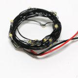 La chaîne de caractères étoilée de Dimmable du pack batterie Cr2032 noir allume le blanc chaud de fil noir