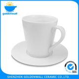 225ml de witte Kop van de Koffie van het Porselein met Schotel