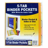 bolsillos de la carpeta 5-Tab con Escribir-en las tabulaciones del índice