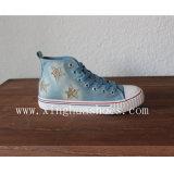 Hohe Spitzensegeltuch-Schuh-flache Schuhe