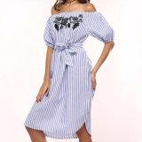 Form-Frauen weg vom Schulter-Stickerei-Verband-Streifen-Kleid
