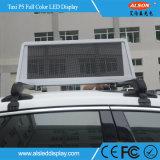Muestra móvil P5 LED de la pantalla impermeable a todo color al aire libre superior del taxi