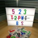Caixa leve da letra cinemático quente da venda A4 Lightbox para lojas