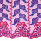 Tessuto in rilievo viola del merletto di più nuovo modo