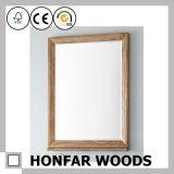 Blocco per grafici di legno moderno dello specchio della stanza da bagno del quadrato nero