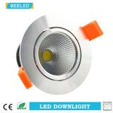 Anuncio publicitario blanco caliente ahuecado Downlight especular del proyecto de 3W Dimmable LED