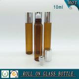 10ml het amberBroodje van het Parfum van het Glas op Fles met de Zilveren Bal van de Rol van het Deksel en van het Roestvrij staal