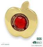 Forme la insignia del perno de la forma del corazón de Apple con el diamante de imitación