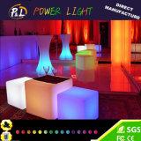 Plástico colorido cadeira Home iluminada do cubo do diodo emissor de luz da mobília