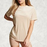 Ladies Fashion Short Sleeves T-shirt à manches longues en velours Blouse