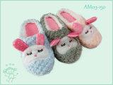 冬の暖かい屋内きれいな動物のプラシ天の子供のスリッパの靴