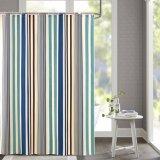 As listras verticais imprimiram a cortina de chuveiro impermeável do banheiro da tela do poliéster (03S0005)