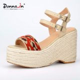 (Donna - in) Fashion Weave Women Calf Leather High Heel Rope Wedge Sandals