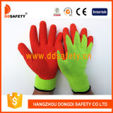 Ddsafety 2017 Guantes 9s Flourescent 5 Hilos T / C Shell Naranja Latex Coating