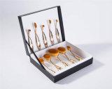 комплект щетки изготовленный на заказ цвета золота 10PCS овальный косметический с черным ящиком