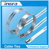 Fascette ferma-cavo rivestite 7X225 dell'acciaio inossidabile della serratura della sbavatura della scaletta del PVC