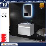 Vanità fissata al muro verniciata bianca della stanza da bagno con il Governo dello specchio