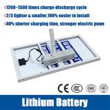 Precios de la luz de calle solar de la batería de litio de 12V 30ah con los 6m poste 30W~120W LED