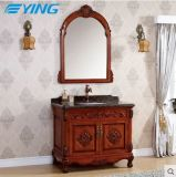 床の大理石の洗面器のクラシックのYingの純木の浴室用キャビネット