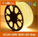 Luz de tira flexível elevada do diodo emissor de luz do brilho AC230V SMD5050 da longa vida