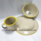 Enamelware表のティーカップの一定のエナメルの受皿のキャンプのコップの錫の鉄ボール